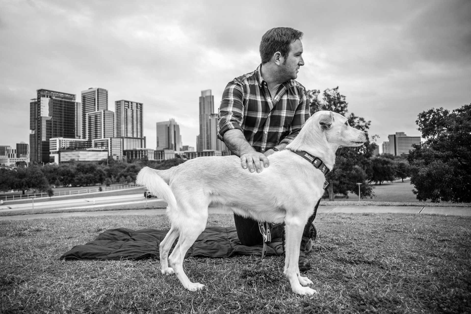 Man and Pet Dog Portrait in Austin, Texas