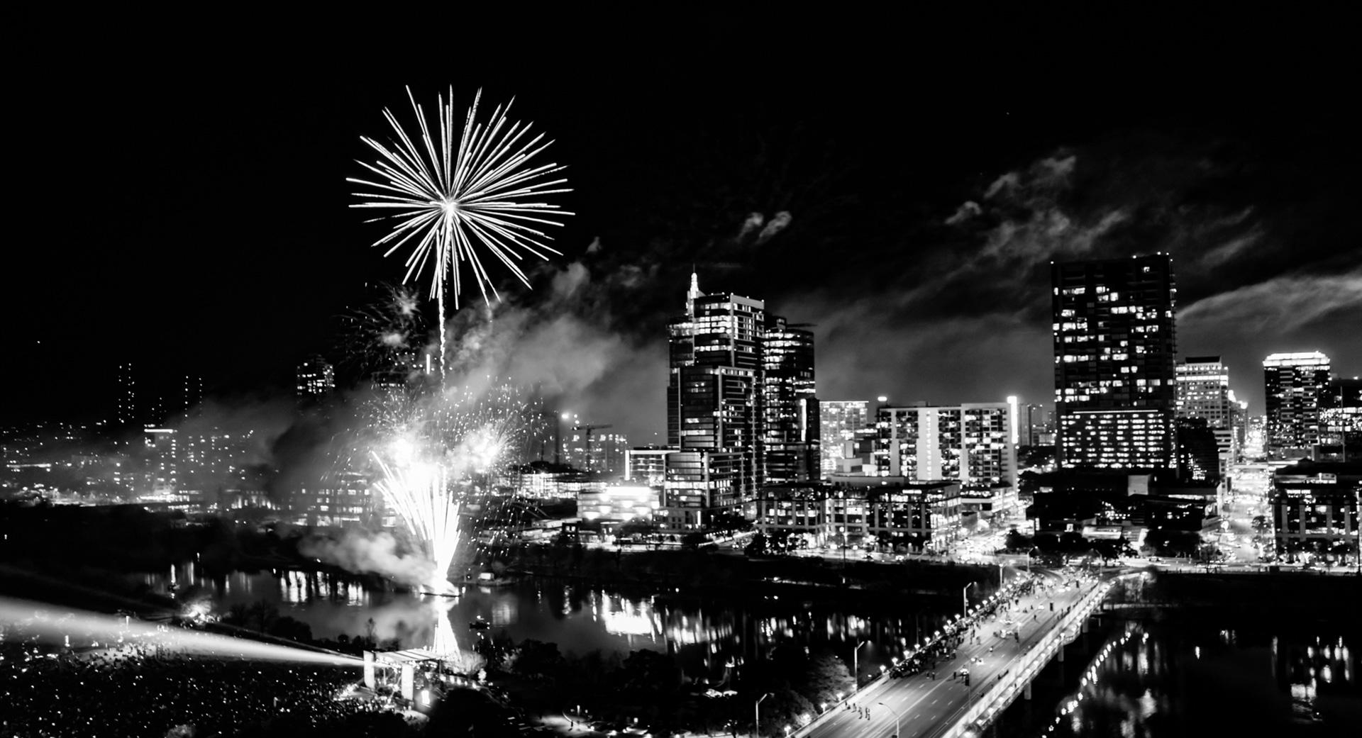 Downtown Austin Texas Skyline Fireworks 2017