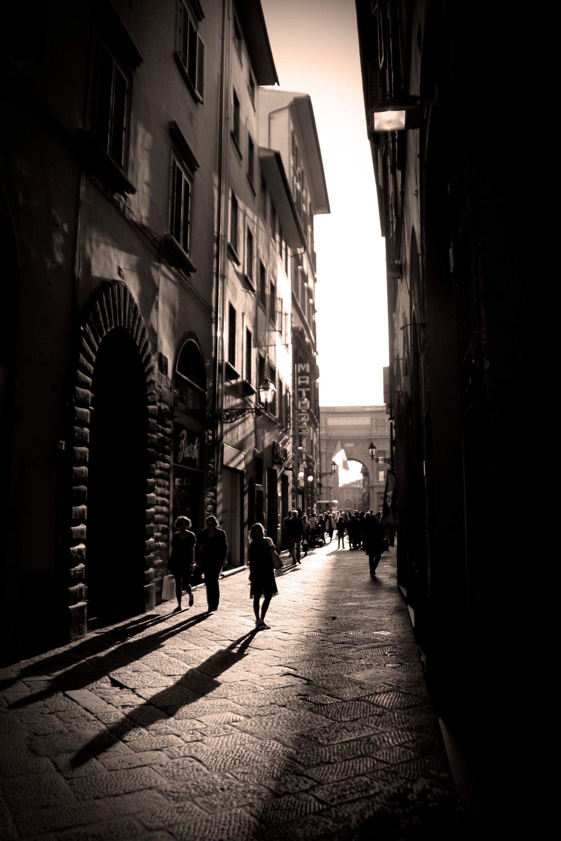 Florence Italy Woman on Cobblestone Street