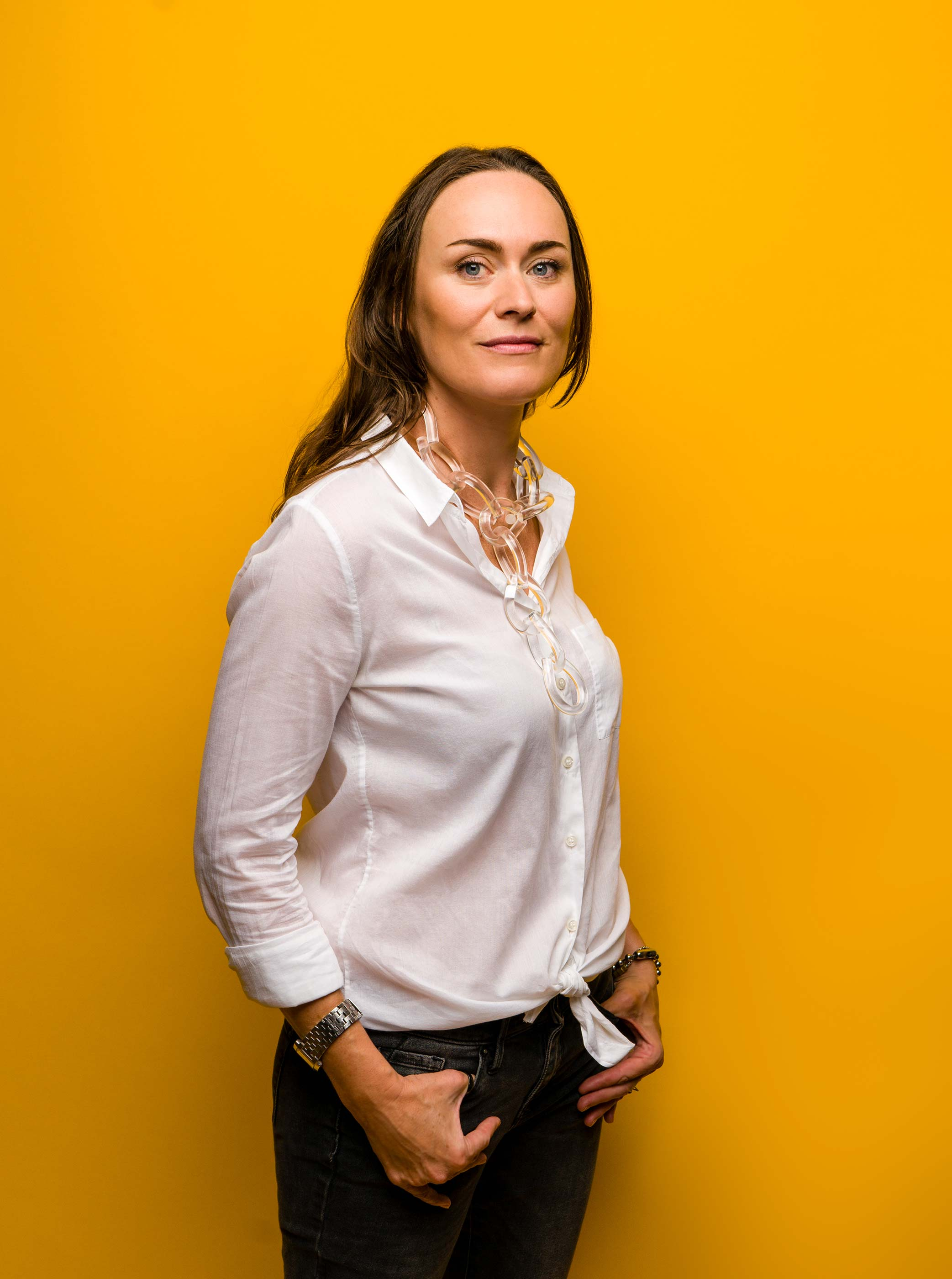 Woman Portrait on Yellow Background