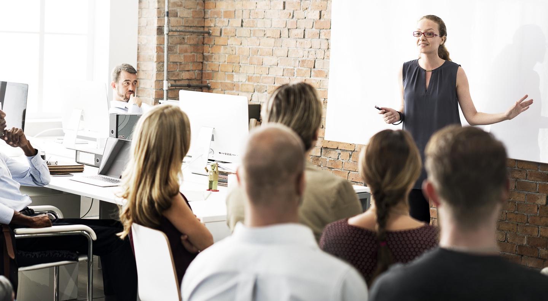 Manager talking during leadership development training