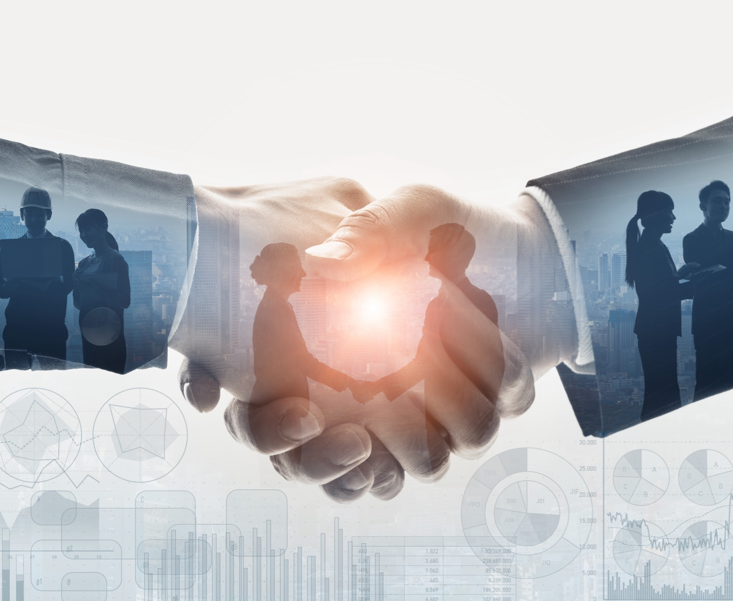Executives making referrals and shaking hands