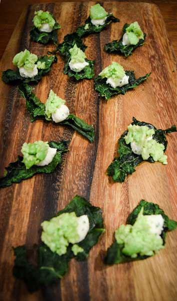 ‍Dino Kale Crisps were served as guests arrived, consisting of Herbed Ricotta & Lemon-Scented Favas.