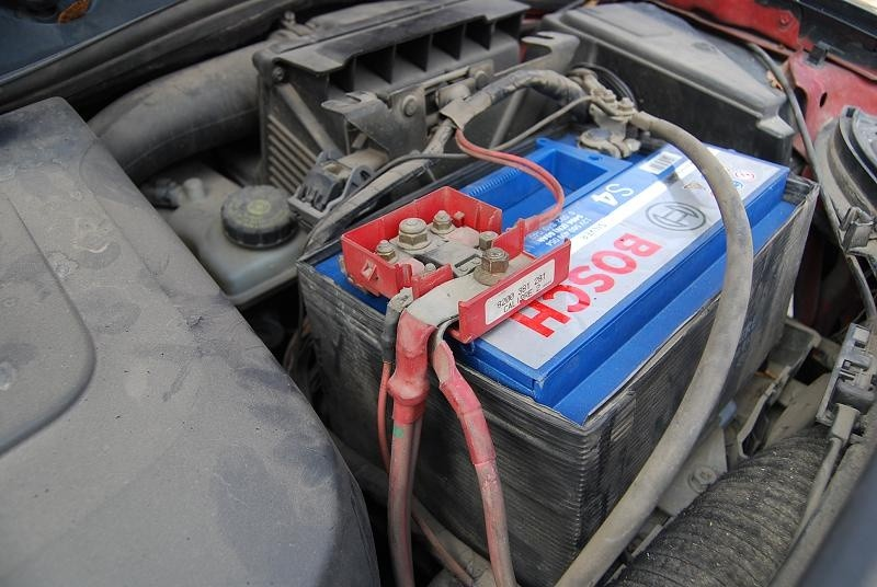 car battery in car