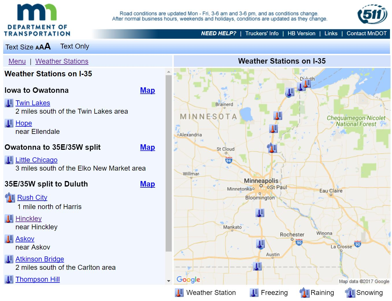MNDOT I-35 Weather Station Map