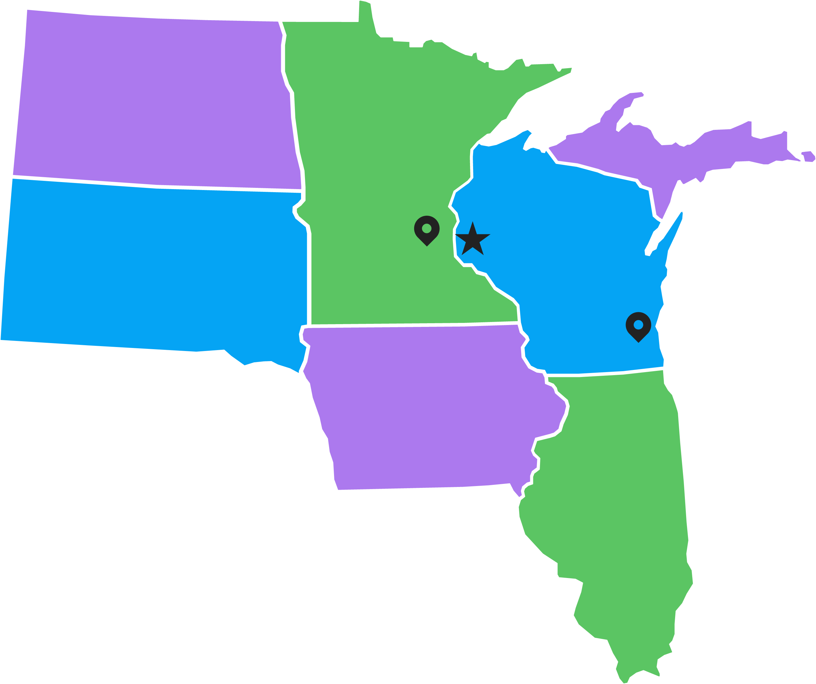 Map of Midwest