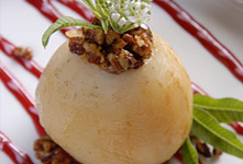 Baked Pear with Agave Chili Glazed Pecans