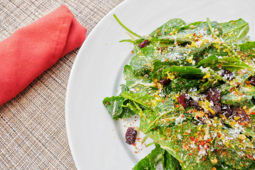 Baby Kale Salad with Lemon Vinaigrette, Toasted Almonds & Dried Tart Cherries