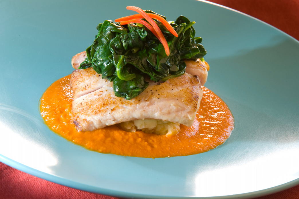 Pan-Seared Sea Bass with Smoky Romesco Sauce and Parsnip Purée