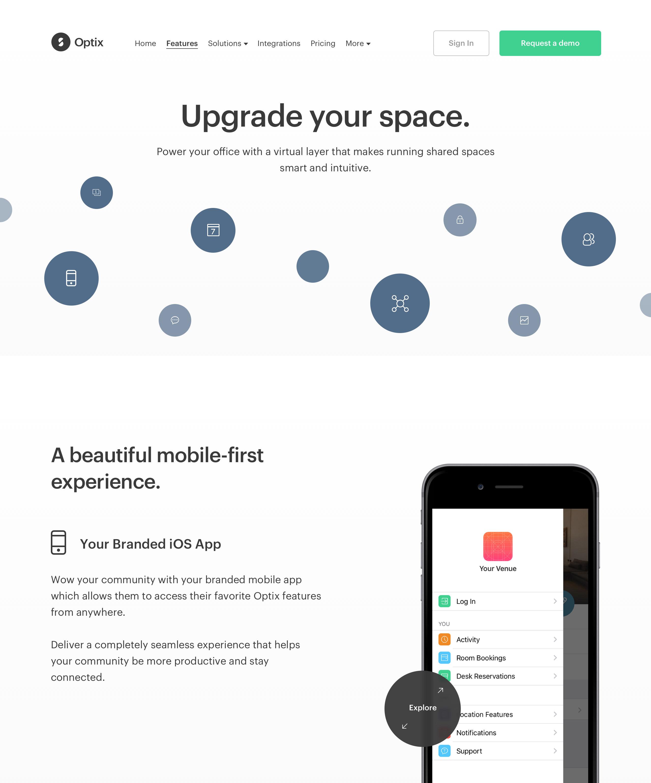 Optix marketing website - Features Page