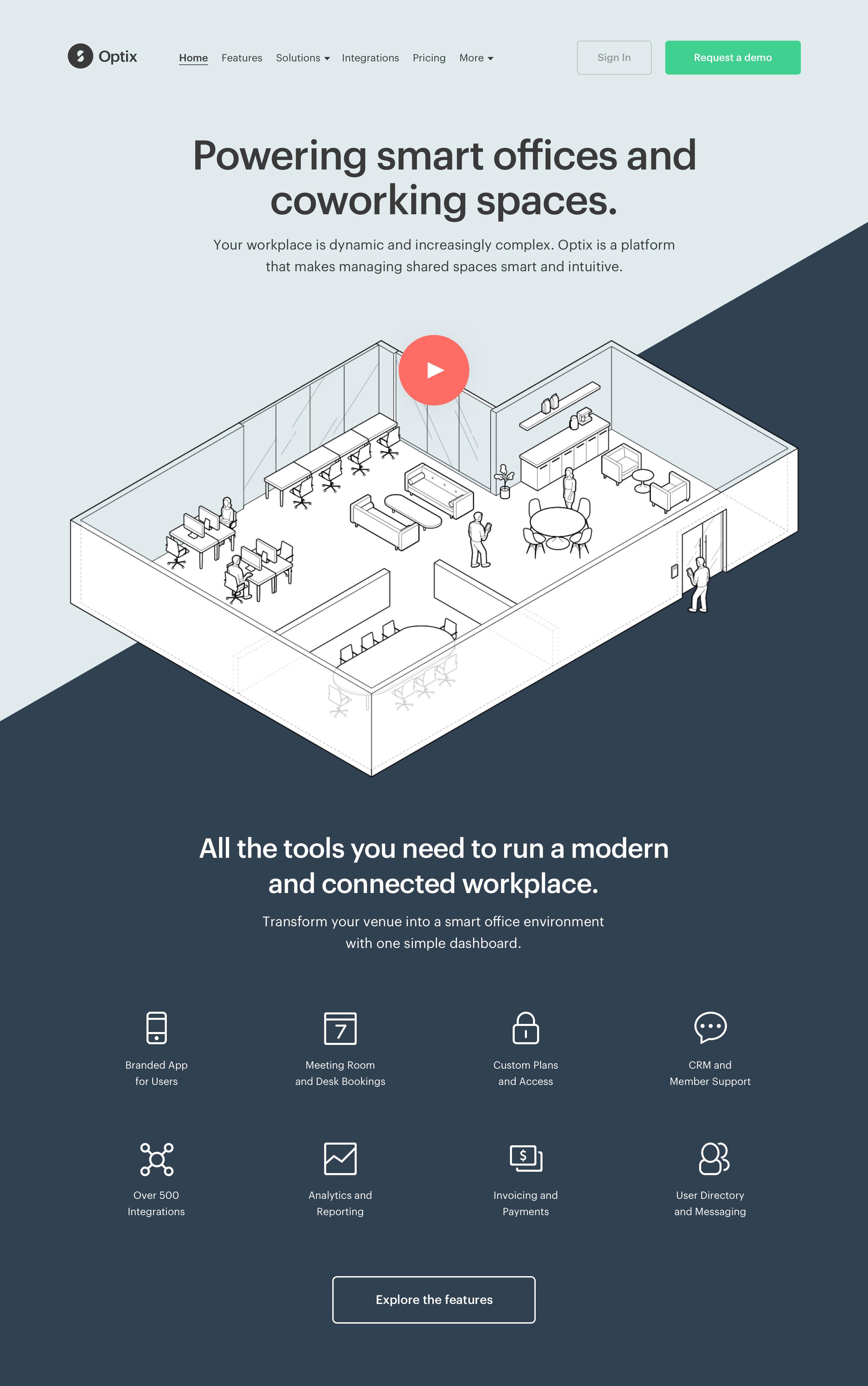 Optix marketing website - Homepage