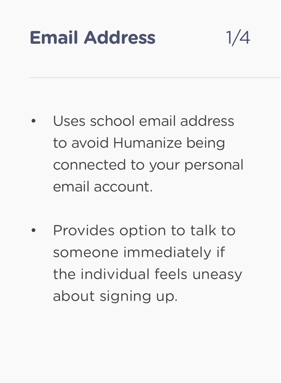 Humanize - Sign up 1