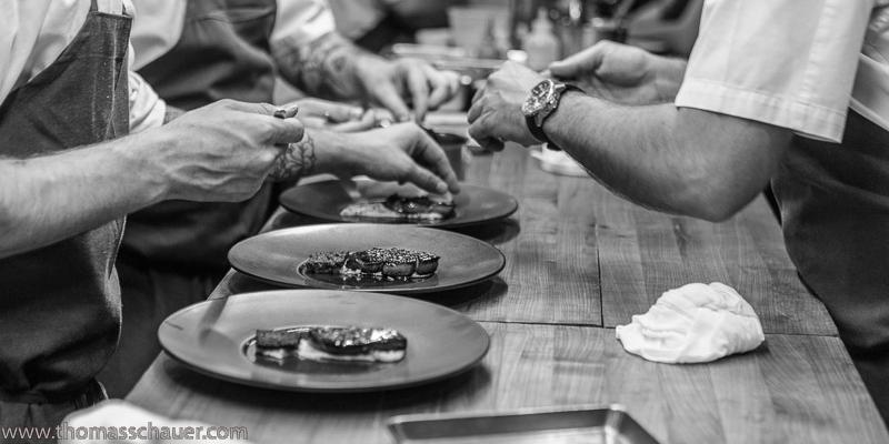 batard slideshow line chefs preparing scallops