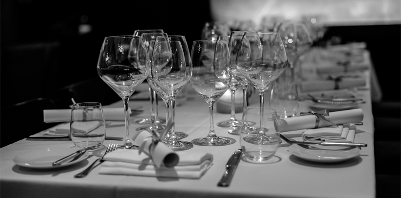 Wine glasses table interior