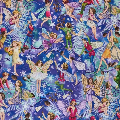Michael Miller Fabric - Enchanted Flower Fairies - Twilight