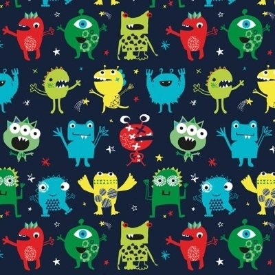 Dashwood - Playime - Monsters on blue fabric