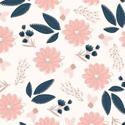 Riley Blake Fabric - Blush - Pink flowers on cream