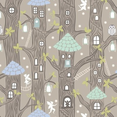 Lewis & Irene - Fairy Lights - Fairy Houses Natural Glow in the dark fabric