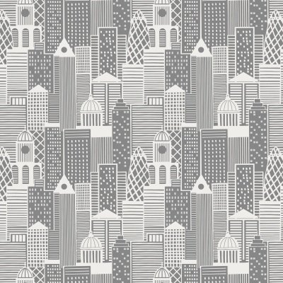 Lewis and Irene fabrics city nights buildings silver
