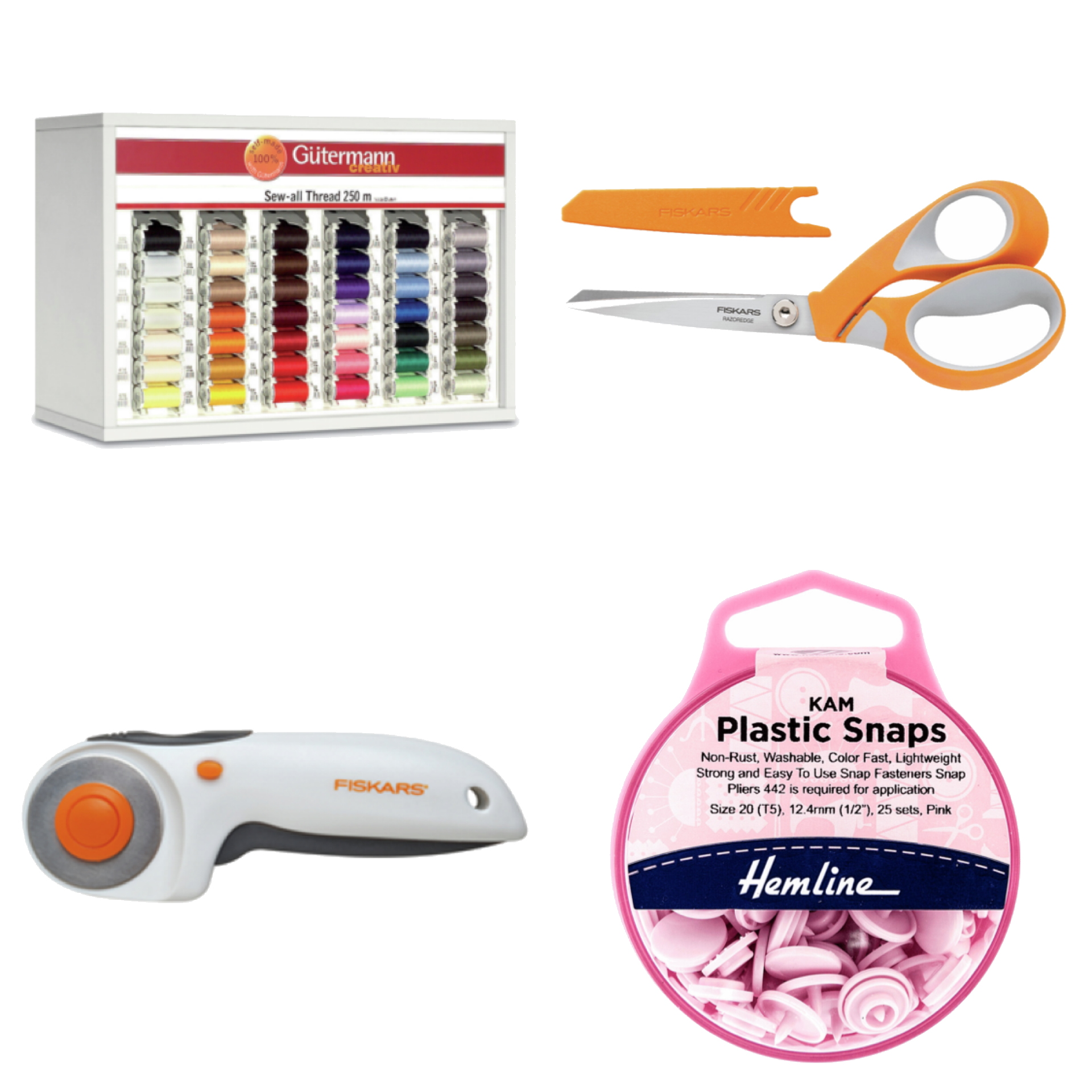 sewing scissors, rotary cutters, buttons