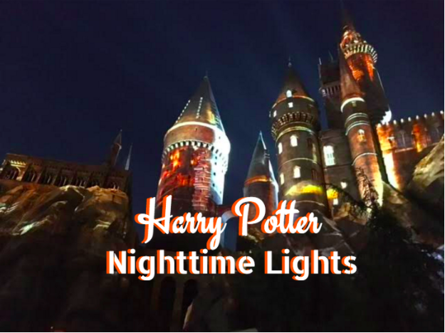 nighttime lights at harry potter universal studios