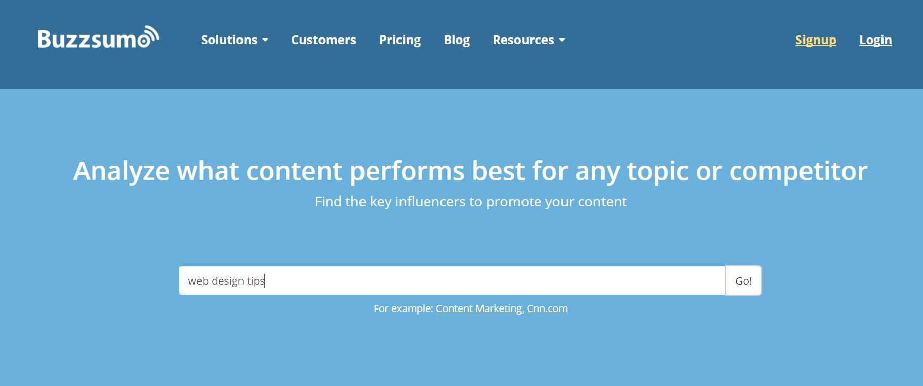 screen shot of buzz sumo searching for web design tips