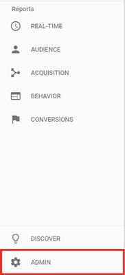 Google Analytics Menu Screenshot highlighting Admin