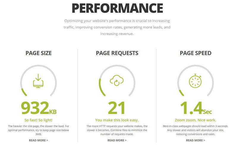 performance score on Website.Grader.com