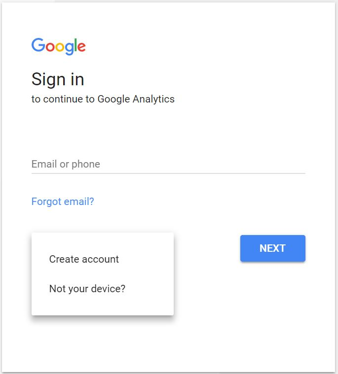 Google Analytics Sign In or Sign Up