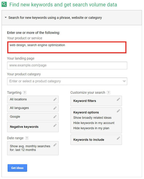 Keyword Planner for Web Design and Search Engine Optimization