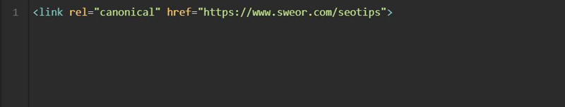Sweor canonical HTML tag example