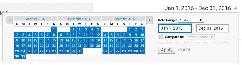 content drill down date range screen shot