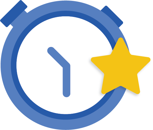 blue clock icon with star