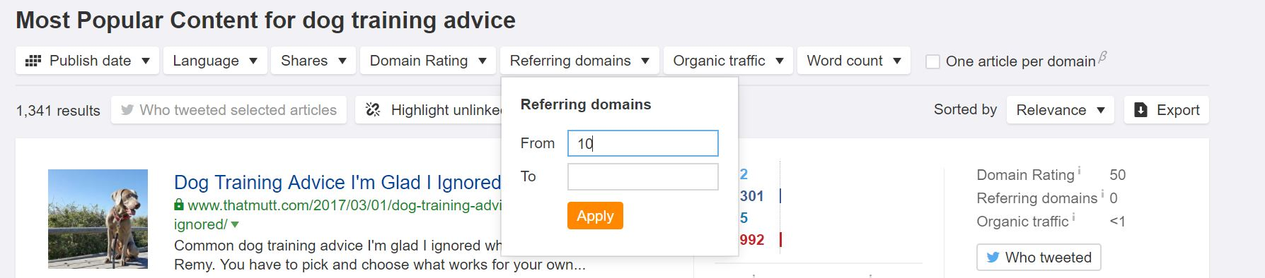 referring domains refined content explorer search