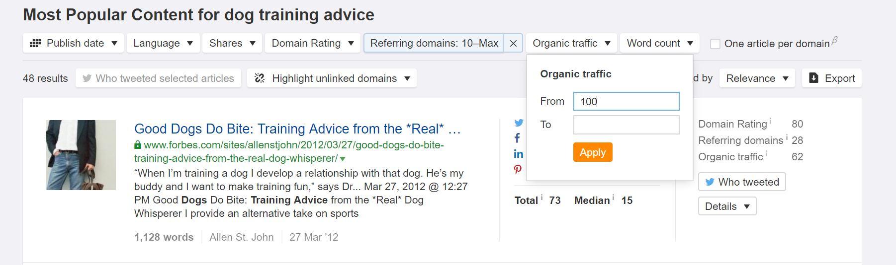 organic traffic refined content explorer search