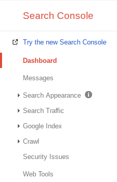 Search Console Setting Selection