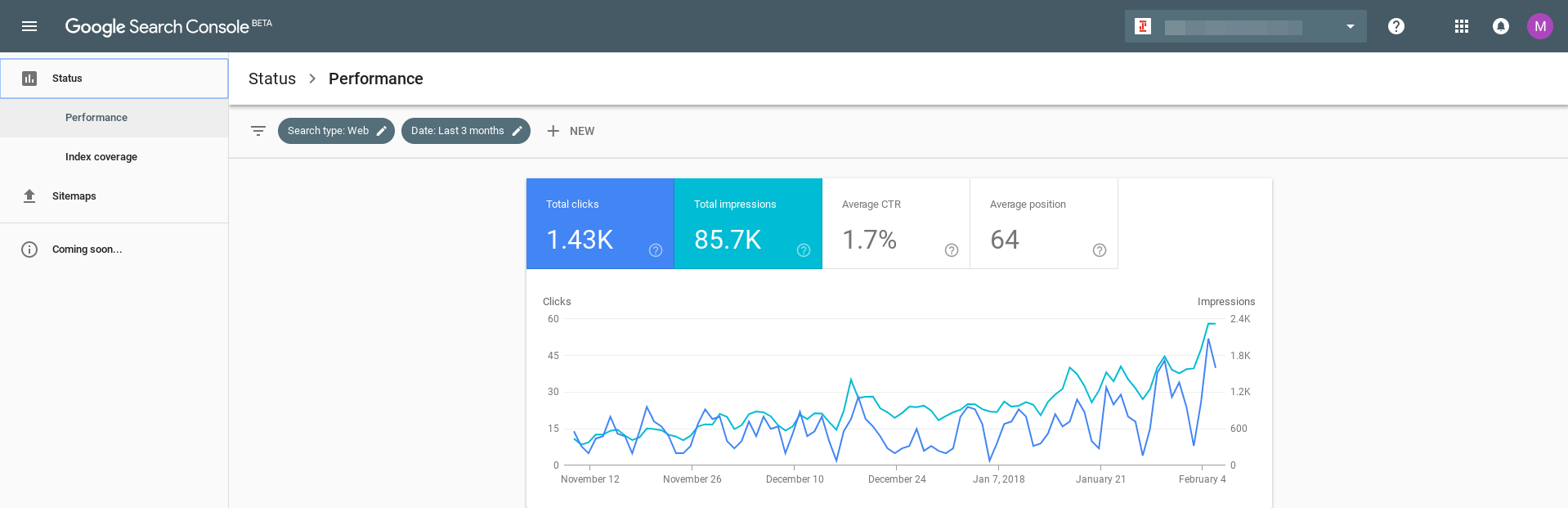 Search Console Select Clicks and Impressions