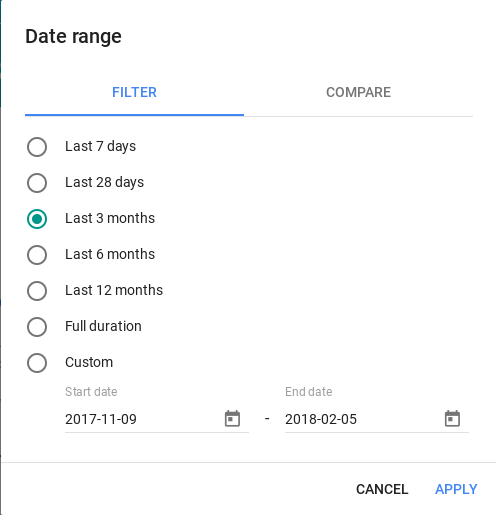 Search Console Date Filter