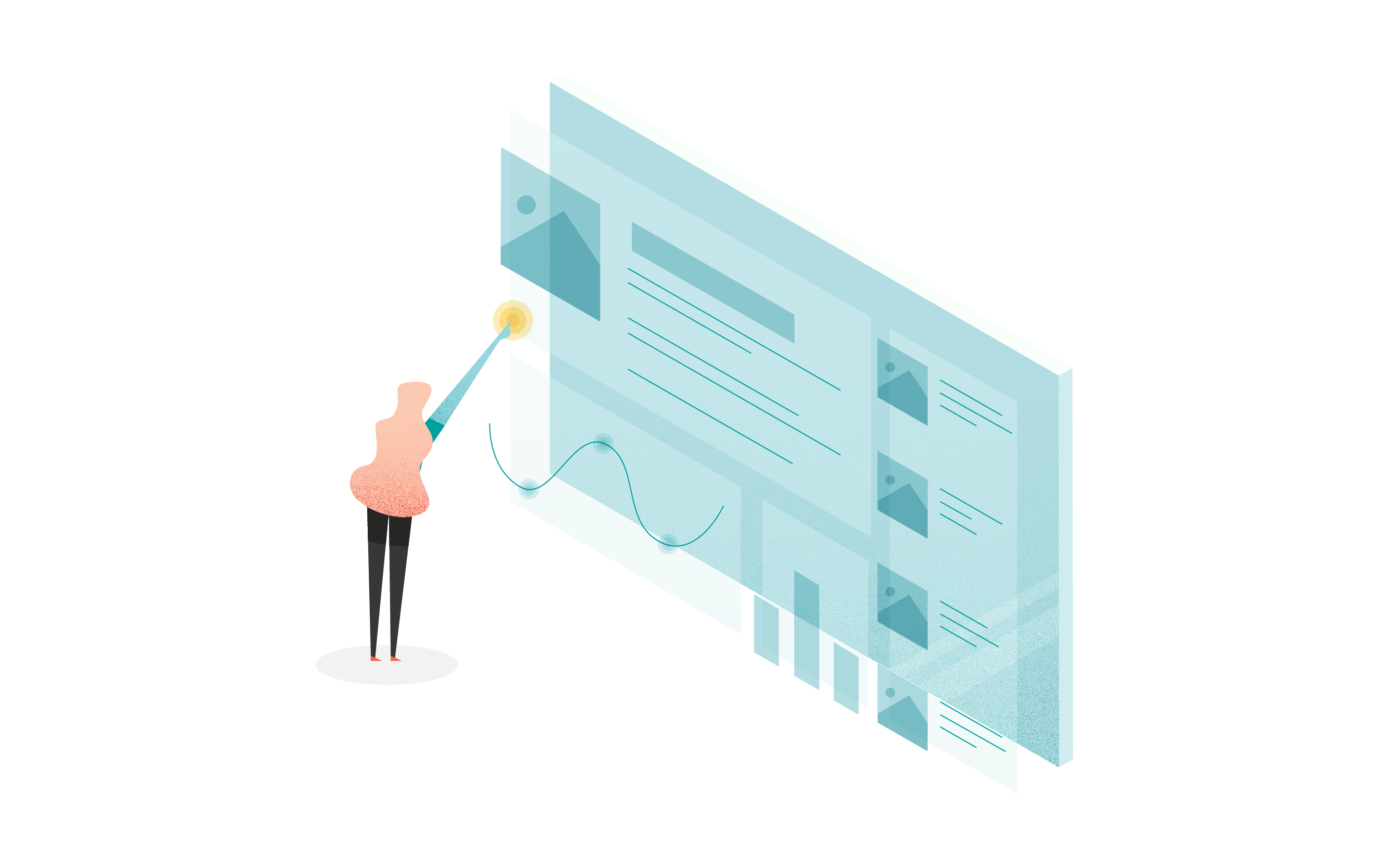 person pointing at graph illustration