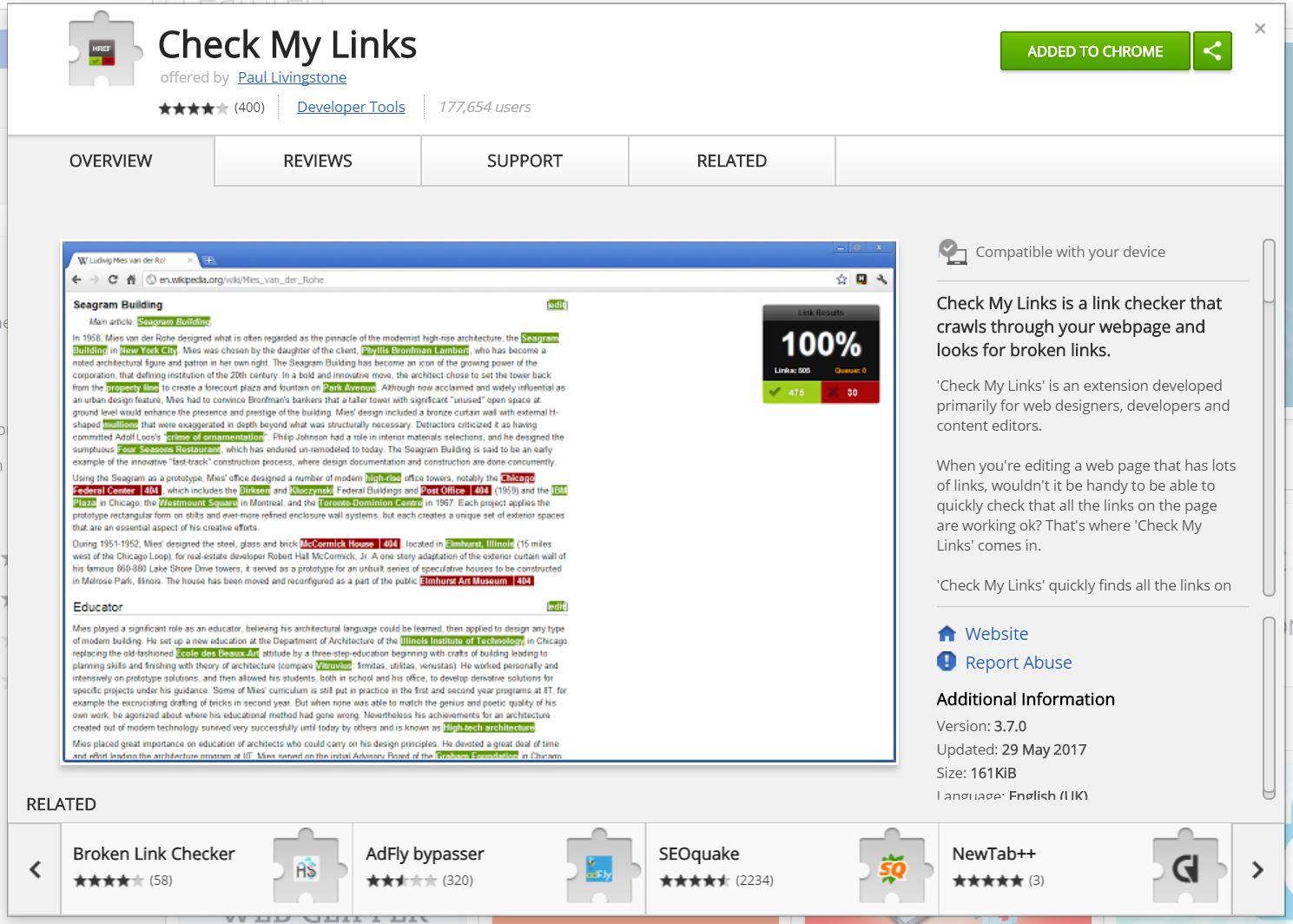 check my links google chrome example