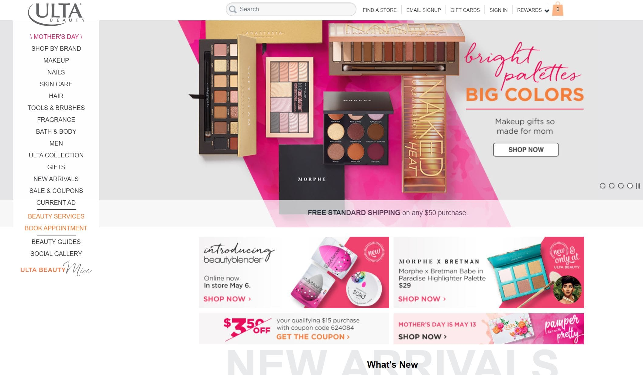 ulta beauty homepage screenshot