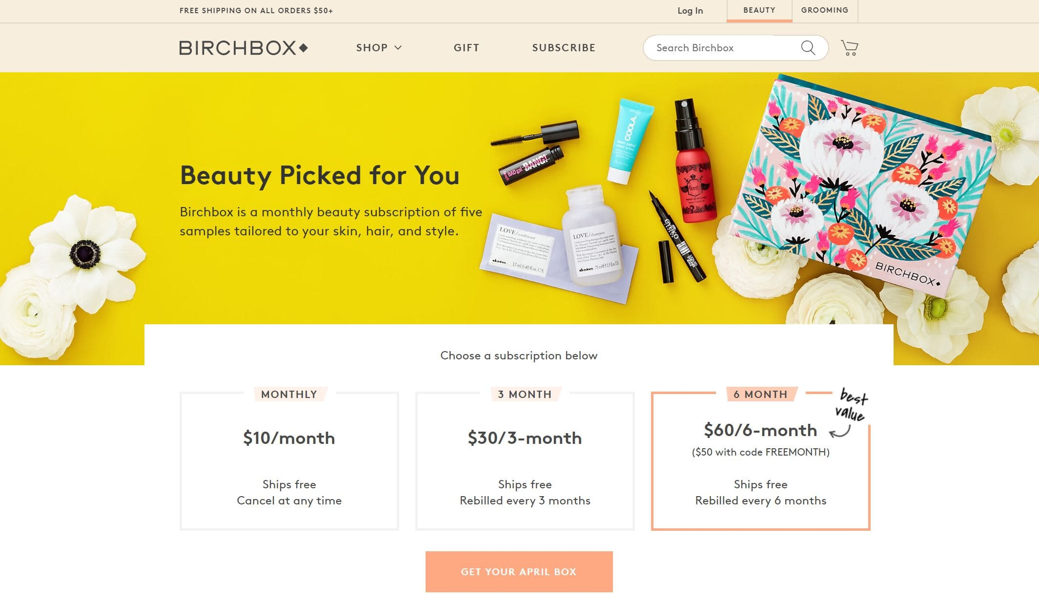 birchbox landing page screenshot
