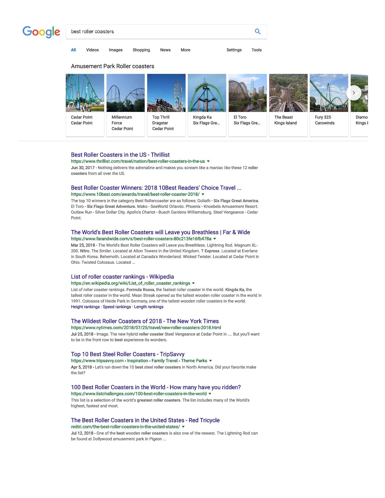 first page google serp example