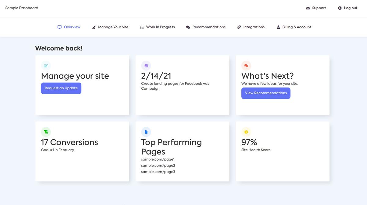 Webflow Website Management Dashboard