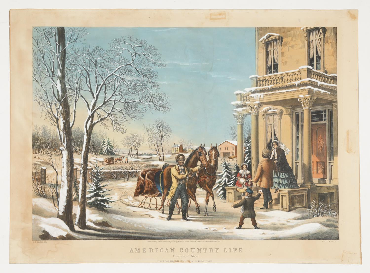 N Currier, American Country Life, Pleasures of Winter, Litho, 1855