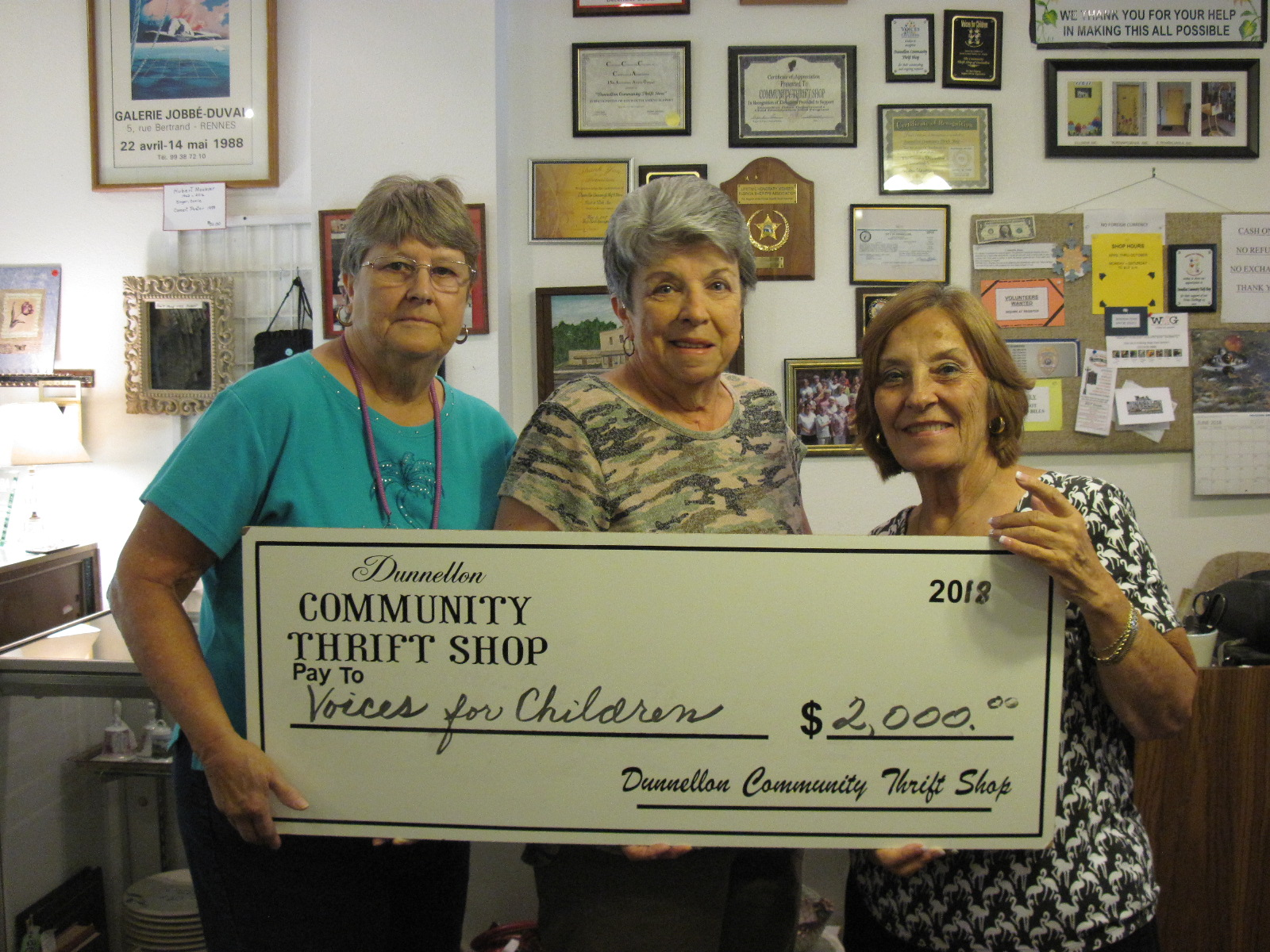 Betsy Schaaf and Arline Keenum of Dunnellon Community Thrift Shop and Sue Carpenter