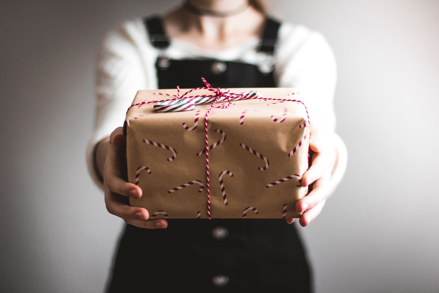 Photo of someone holding up a wrapped Christmas gift
