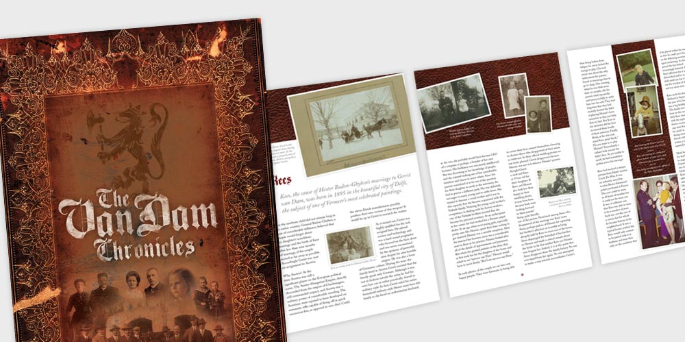 VanDam family history book design