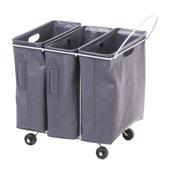 R-eco This is our stylish waste paper collection trolley with 3 separate waterproof units. Its 4 wheels allows you to maneuver it around your workspace and is easily moved to facilitate cleaning.