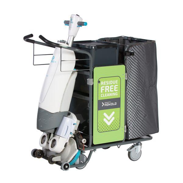 Rekola Motion M2 Machine -siivousvaunu lattiakoneiden integrointiin